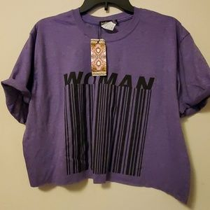 """""""Woman"""" oversized cropped top"""